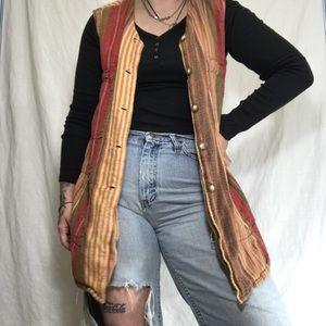 EUC Express Sherbet Color Stripe Linen Vest